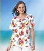Women's Short Sleeve Blouse - Floral Motif preview1