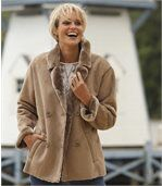 Women's Brown Faux Suede Coat with Faux Fur Trim preview5