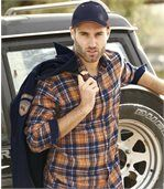 Men's Checked Flannel Shirt - Navy, Orange preview1
