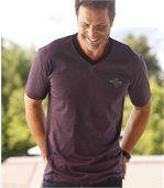 Pack of 3 Men's Mottled V-Neck T-Shirts - Grey Bordeaux Indigo preview2