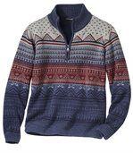 Žakárový svetr s límečkem na zip