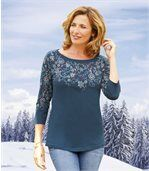 Women's Decorative Top with Three-Quarter Length Sleeves