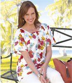 Women's Short Sleeve Blouse - Floral Motif preview2