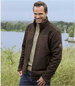 Men's Brown Faux Suede Jacket with Sherpa Lining preview1