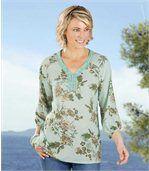 Women's Long Sleeve Green Blouse - Floral Motif preview1