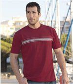 Pack of 3 Men's Striped T-Shirts - Burgundy White Black preview2