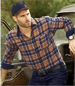 Men's Checked Flannel Shirt - Navy, Orange preview3