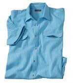 Men's Blue Waffle Cotton Striped Shirt preview1