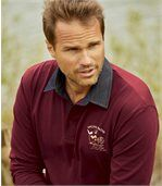 Men's Burgundy Highlands Polo Shirt with Denim Collar