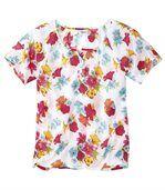 Women's Short Sleeve Blouse - Floral Motif preview3