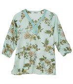 Women's Long Sleeve Green Blouse - Floral Motif preview2