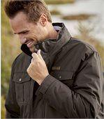 Men's Brown Multi-Pocket Parka