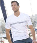 Pack of 3 Men's Striped T-Shirts - Burgundy White Black preview3
