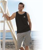 Pack of 3 Men's Sport Tank Tops - Black White Blue