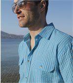 Men's Blue Waffle Cotton Striped Shirt preview2