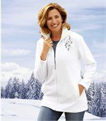 Women's White Fleece & Cable Knit Jacket preview1