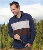 Men's Striped Long Sleeve Polo Shirt - Blue Brown Ecru preview1