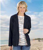 Women's Navy Linen Jacket