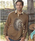 Men's Brown Polo Shirt Native American Indian Print