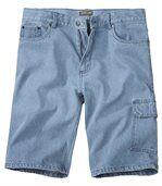 Men's Pale Blue Bleach Denim Shorts