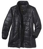 Prošívaná bunda s kapucí lemovanou kožešinou