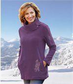 Tunika-Pullover aus Strick und Fleece