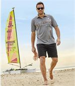 Pack of 2 Men's Microfibre Beach Shorts - Black Grey