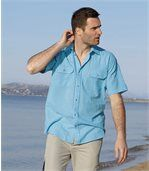 Men's Blue Waffle Cotton Striped Shirt preview3