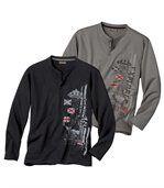 Set van 2 T-shirtsComfortabele uitlopende hals preview1