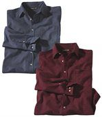 Pack of 2 Men's Flannel Shirts - Checked Blue Red