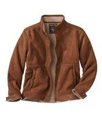 Men's Brown Faux Suede Jacket with Sherpa Lining