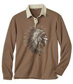 Men's Brown Long Sleeve Top - Native American Indian Print preview2