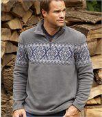 Men's Half Zip Fleece Jumper - Patterned - Grey preview1