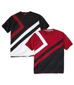 Pack of 2 Men's Sporty Beach T-Shirts - Red Black White