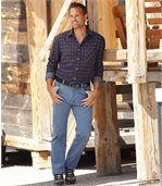 Men's Stonewashed Blue Stretch Jeans - Regular Cut