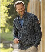 Men's Mottled Navy Zip-Up Knitted Jacket