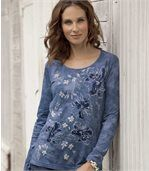 Women's Blue T-Shirt with Bouquet Pattern preview1