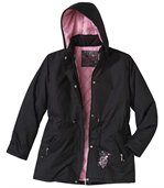 Women's Black Stylish Microtech Parka Coat preview3