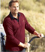 Men's Burgundy Polo Shirt with Denim Collar - Jersey preview1