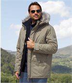 Men's Beige Parka Coat with Faux Fur Hood - Canadian Road Trip preview3