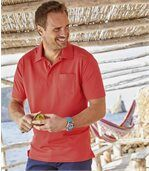 Pack of 3 Men's Summer Polo Shirts - Navy Turquoise Coral preview2