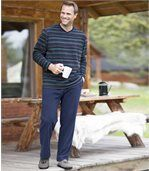 Men's Navy Blue Striped Microfleece Pyjamas