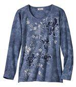 Modré tričko s kvetinovými motívmi preview2