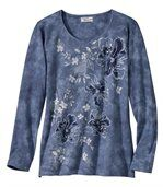 Women's Blue T-Shirt with Bouquet Pattern preview2