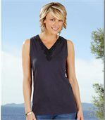 Pack of 2 Women's Vest Tops - Navy Turquoise  preview2