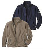 Pack of 2 Men's Microfleece Jackets - Navy Taupe preview1