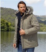 Men's Beige Parka Coat with Faux Fur Hood - Canadian Road Trip preview1