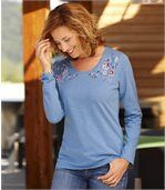 Women's Blue Long Sleeve Top - Floral Motif preview1