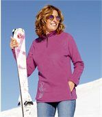 Women's Pink Half-Zip Microfleece Jumper preview1