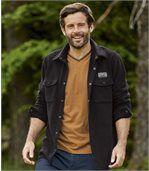 Men's Black Cosy Fleece Overshirt